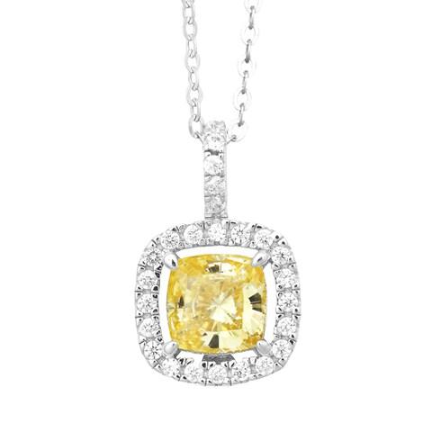 La Preciosa Sterling Silver Yellow/ White Cubic Zirconia Square Pendant Necklace