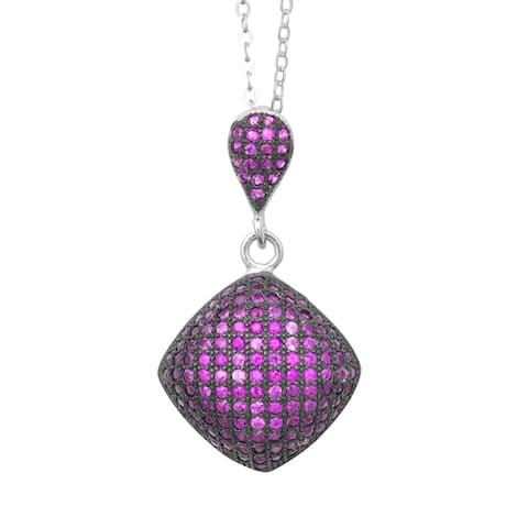 La Preciosa Sterling Silver Pink MIcro Pave Cubic Zirconia Puffed Square Pendant Necklace