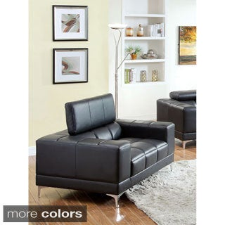 Furniture of America Eona Bonded Leather Pneumatic Gas Lift Club Chair