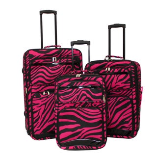 World Sport Black/ Pink Zebra 3-piece Expandable Upright Luggage Set