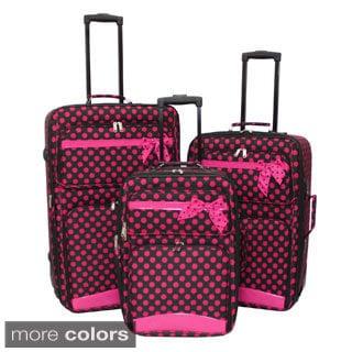 World Sport Big Ribbon Dots 3-piece Expandable Upright Luggage Set ...