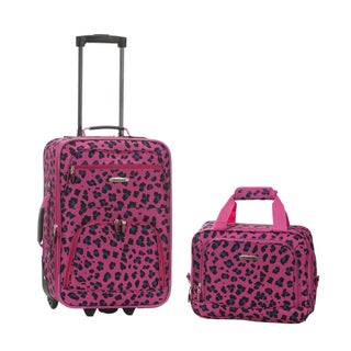 Rockland Magenta Leopard 2-piece Lightweight Carry-on Luggage Set