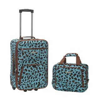 Rockland Blue Leopard 2-piece Lightweight Carry-on Luggage Set