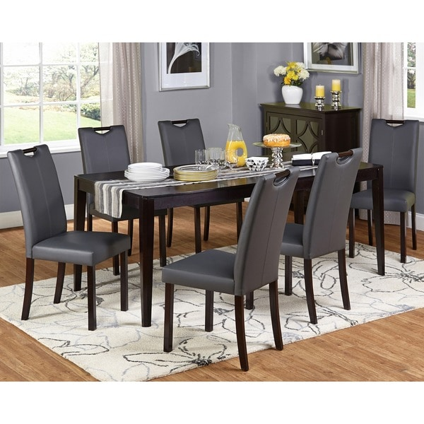 Leather Dining Set: Shop Simple Living Tilo Grey Faux Leather And Wengewood 7