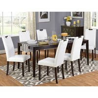 Simple Living Tilo White Faux Leather and Wengewood 7-piece Dining Set