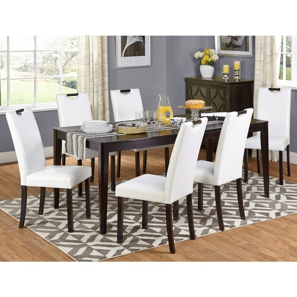White Leather Dining Room Set: Shop Simple Living Tilo White Faux Leather And Wengewood 7
