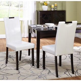 Simple Living Tilo White Leatherette Parson Dining Chairs (Set of 2)