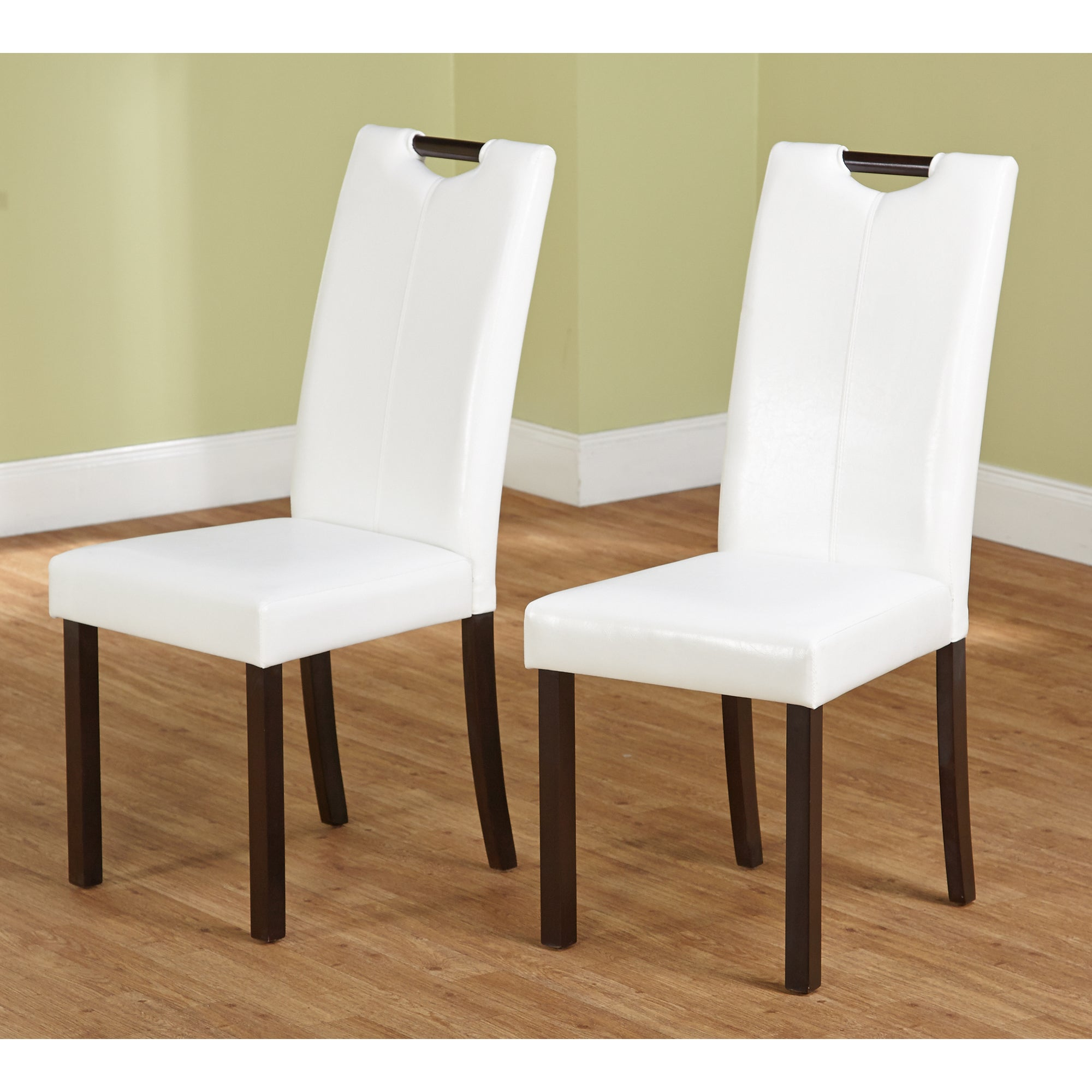 Simple Living Tilo White Leatherette Parson Dining Chairs...