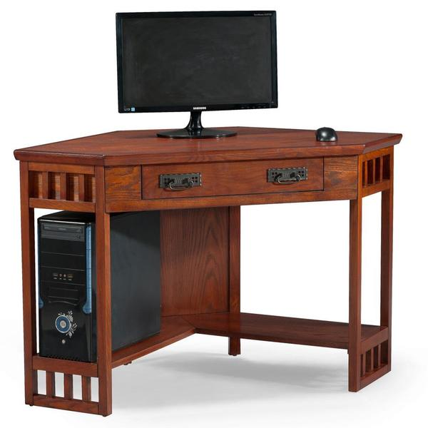 Mission oak corner laptop desk free shipping today 16447097 - Cheap black desks ...