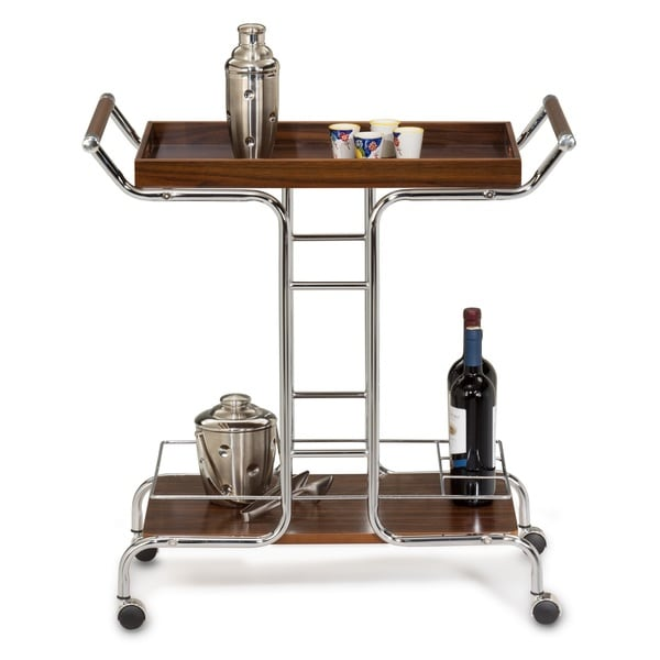 cappuccino and chrome wine serving cart free shipping