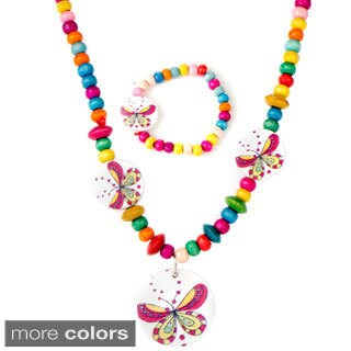 Girls' Multi-color Wooden Jewelry Set