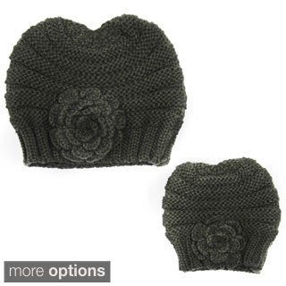 Poppie Mommy & Me Hand-Knit Flower Beanie Set (3 options available)