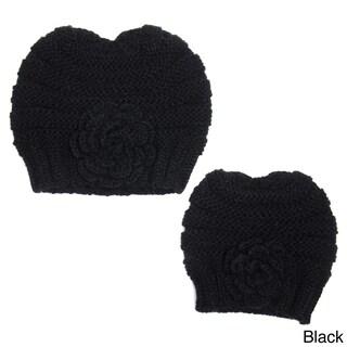 Poppie Mommy & Me Hand-Knit Flower Beanie Set (Option: Black)