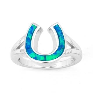 La Preciosa Sterling Silver Created Blue Opal Horseshoe Ring