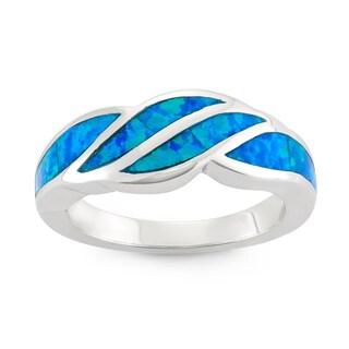 La Preciosa Sterling Silver Created Blue Opal Designed Ring