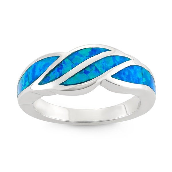La Preciosa Sterling Silver Created Blue Opal Designed Ring
