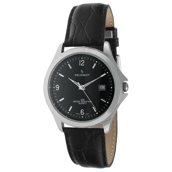 Peugeot Men's Round Black Calender Date Dial Black Leather Watch
