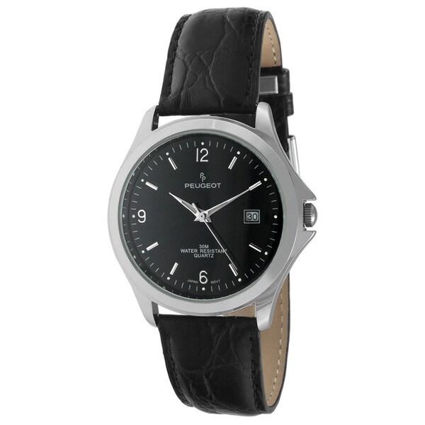 Peugeot Men's 296BK Round Black Calender Date Dial Black Leather Watch