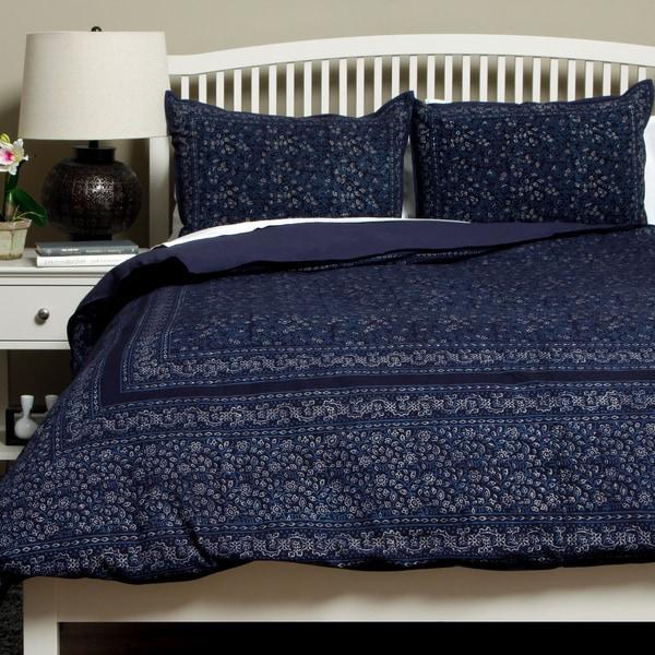 Hand-woven Cotton Dark Blue Kalamkari Queen Size 3-piece Duvet Cover Set (India)