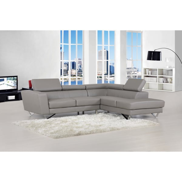 Shop Delia Grey Bonded Leather Modern Sectional Sofa Set - Free ...