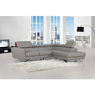 Delia Grey Bonded Leather Modern Sectional Sofa Set