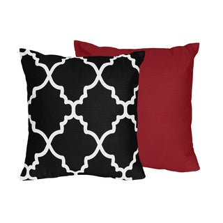 Sweet Jojo Designs Trellis Collection Black and White Lattice Print 16-inch Throw Pillow