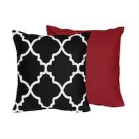 Sweet Jojo Designs Trellis Collection Black and White Lattice Print 16-inch Throw Pillow