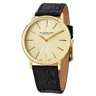 Stuhrling Original Men's Swiss Quartz Orchestra Leather Strap Watch