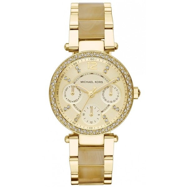 Shop Michael Kors Women s Parker MK5842 Goldtone Stainless Steel Quartz  Watch - Free Shipping Today - Overstock.com - 9285741 d8e8a9a24f