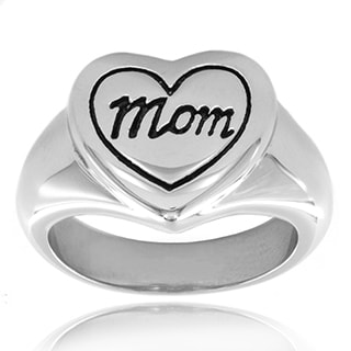"Engraved """"Mom"""" Heart Polished Stainless Steel Ring - 13mm Wide"