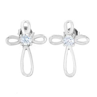 Link to ELYA Stainless Steel Cubic Zirconia Ribbon Cross Stud Earrings Similar Items in Men's Jewelry