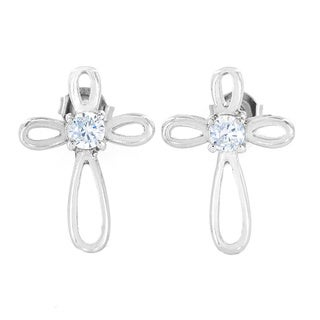 ELYA Stainless Steel Cubic Zirconia Ribbon Cross Stud Earrings