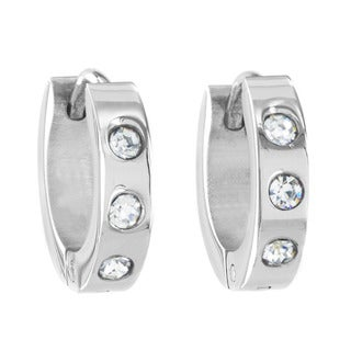 Stainless Steel Cubic Zirconia 13.5mm Cuff Hoop Earrings