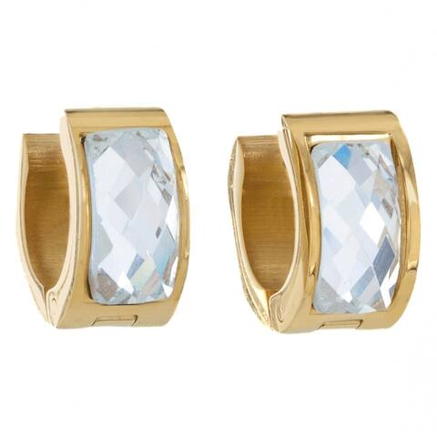 Gold Plated Stainless Steel Crystal Cuff Hoop Earrings
