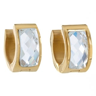 Stainless Steel Crystal Cuff Hoop Earrings