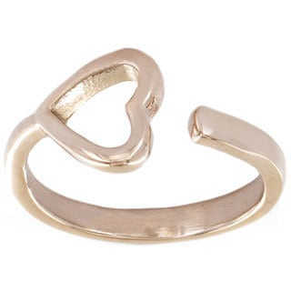 Rose Goldplated Stainless Steel Open Heart Ring