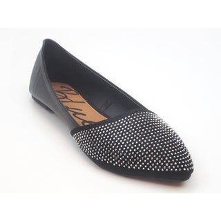 Blue Women's 'Atonce' Black Synthetic Leather Studded Ballet Flats