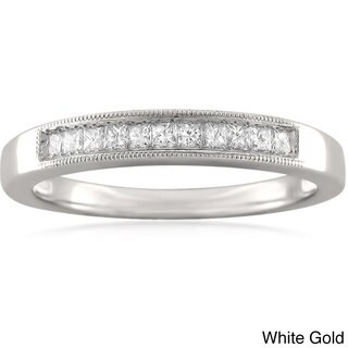Montebello 14k White or Yellow Gold 1/4ct TDW Princess-cut Diamond Milligrain Wedding Band (I-J, VS2)