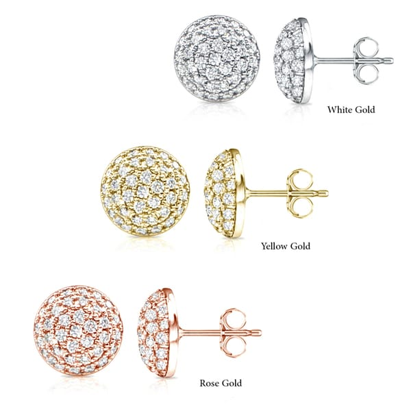 3d2467fdf Shop 14k Gold Round 2ct TDW Half Ball Pave Diamond Stud Earrings by ...
