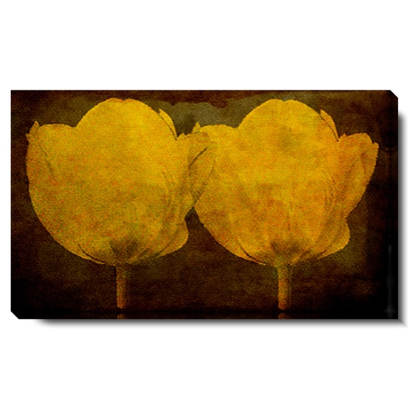 Studio Works Modern 'Twin Tulips - Golden' Gallery Wrapped Canvas