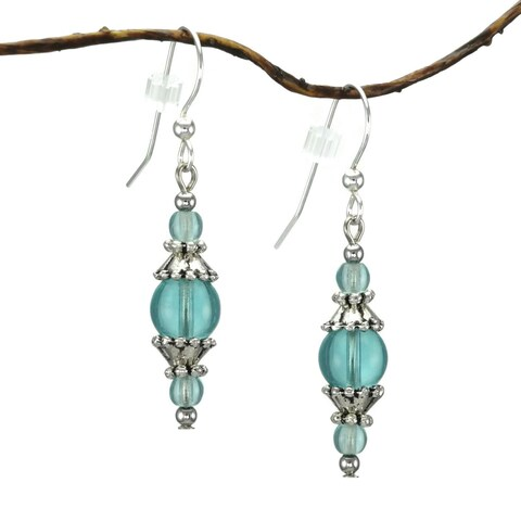 Handmade Jewelry by Dawn Round Aqua Glass and Pewter Accent Dangle Earrings (USA)