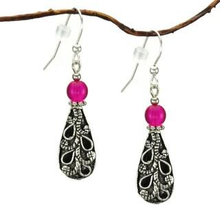 Jewelry by Dawn Antiqued Puffed Teardrop Hot Pink Dangle Earrings