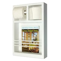 Key West Series 12 Surface Mounted Magazine Rack With Toilet Paper Holders White
