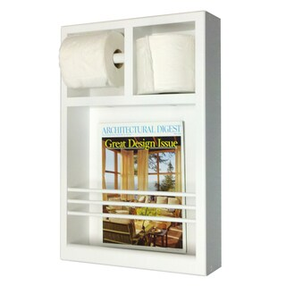 Key West Series 12 Surface Mounted Magazine Rack with Toilet Paper Holders - White