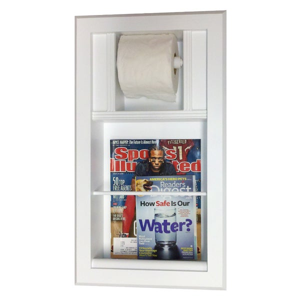 Key West Series 14 Recessed Magazine Rack With Toilet Paper Holder White