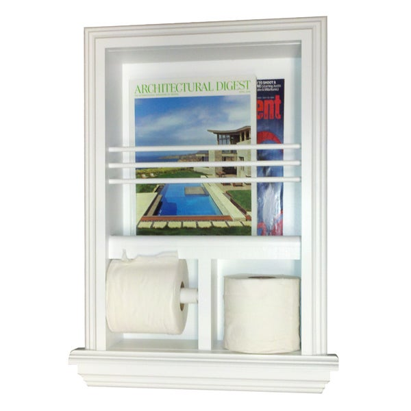Shop key west series recessed magazine rack and double toilet paper holder free shipping today for Recessed in the wall bathroom magazine rack