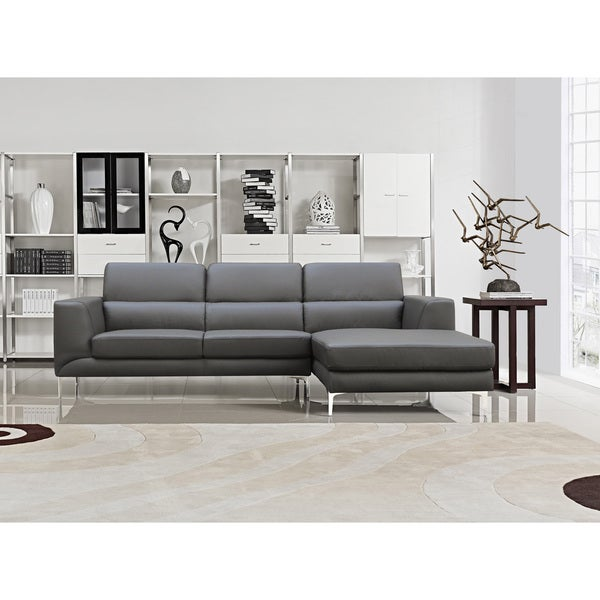 Sectional Gray Sofa Set: Shop Yuri Grey Bonded Leather 2-piece Contemporary