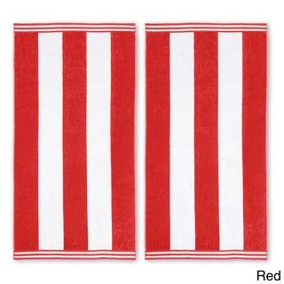 Superior Oversized Cabana Stripe Cotton Jacquard Beach Towel (Set of 2) (Option: Red)
