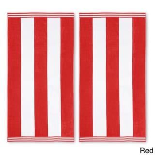Superior Collection Oversized Cabana Stripe Cotton Jacquard Beach Towel (Set of 2)