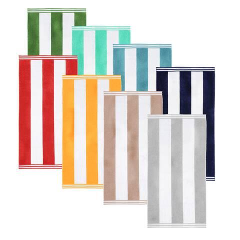 "Superior Oversized Cabana Stripe Cotton Jacquard Beach Towel (Set of 2) - 34"" x 64"" each"